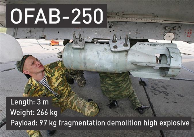 Bom OFAB-250 dài 3m, nặng 266kg, trong đó chứa 97kg thuốc nổ.