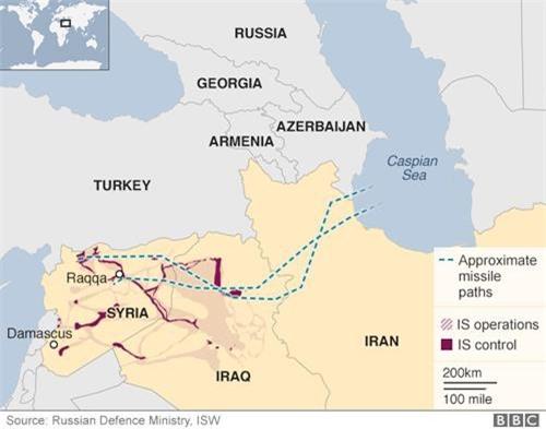 Bản đồ hướng đi của tên lửa Nga phóng từ tàu chiến trên biển Caspian.